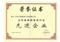 山东省建筑装饰行业先进企业